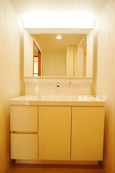洗面化粧台 収納スペースたっぷりの洗面台(2021年08月撮影)
