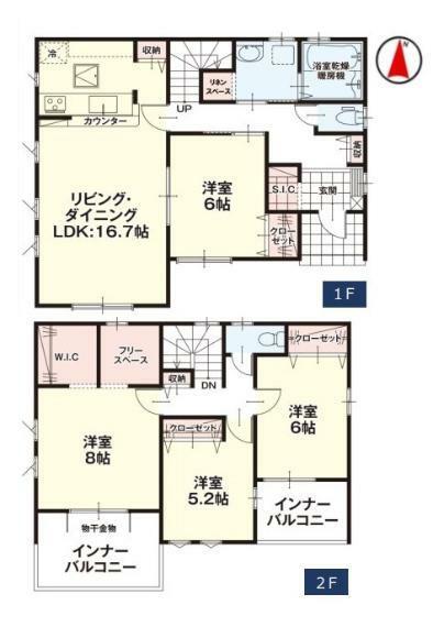 間取り図 【1号棟間取り図】4LDK 建物面積110.87平米(33.59坪)