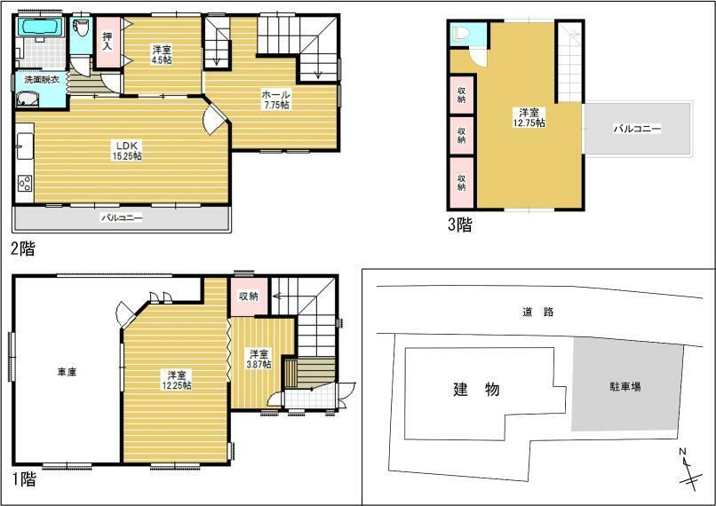 間取り図 1階はビルトインガレージと客間になっています。日当たりのいい2階リビングはプライベート性も高く、ご家族でゆったりおくつろぎいただけます。
