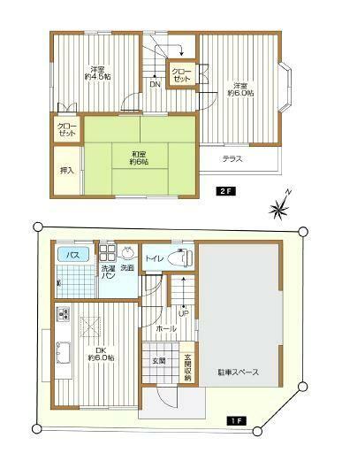 間取り図 3LDK + カースペース(車種による) 土地面積 58.18平米(17.59坪) 建物面積 57.96平米(17.53坪)