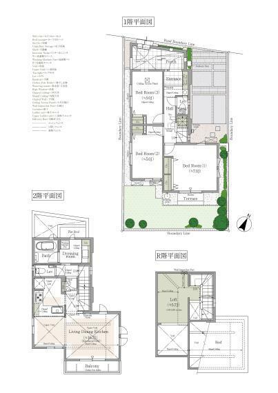 間取り図 1号棟 3LDK+ロフト+吹抜+カースペース 敷地面積/100.40平米 建物延床面積/80.30平米