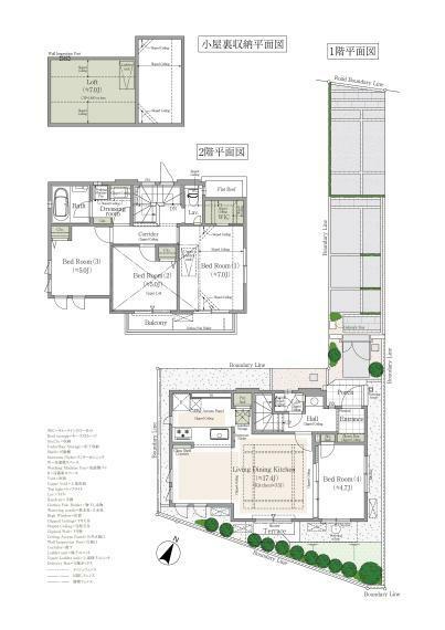 間取り図 2号棟 4LDK+WIC+小屋裏収納+床下収納+カースペース 敷地面積/114.89平米 建物延床面積/91.90平米