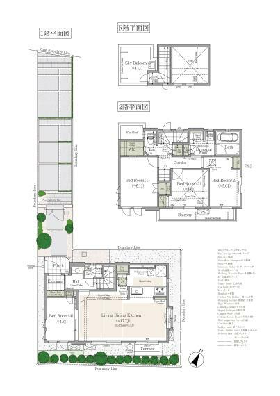間取り図 3号棟 4LDK+WIC+床下収納+吹抜+スカイルーフバルコニー+カースペース 敷地面積/117.81平米 建物延床面積/94.24平米