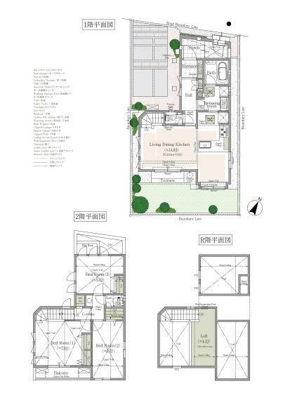 間取り図 4号棟 3LDK+床下収納+ロフト+吹抜+カースペース 敷地面積/100.46平米 建物延べ床面積/80.36平米