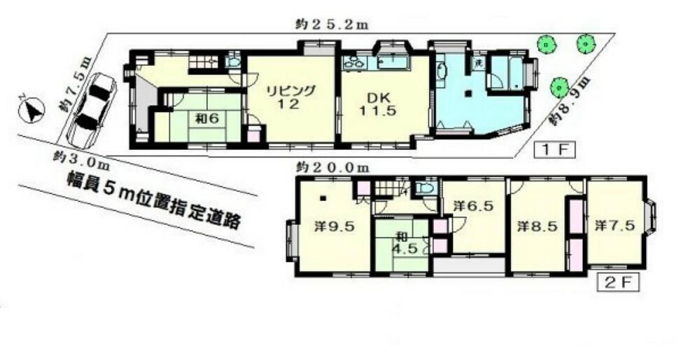 区画図 現況古家(1984年築、建物面積149.02平米、6LDK)の間取りです。室内のご見学も可能です。