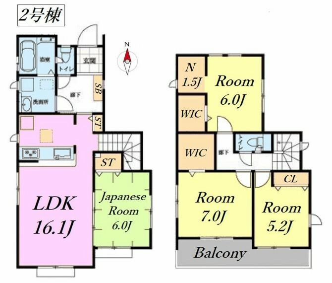 間取り図 2号棟間取図です。納戸・2ヶ所のWIC付 収納豊富です!