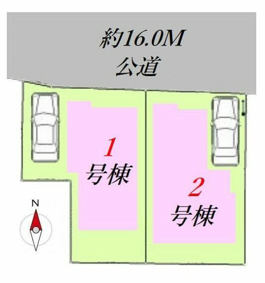 区画図 対象区画は2号棟です。
