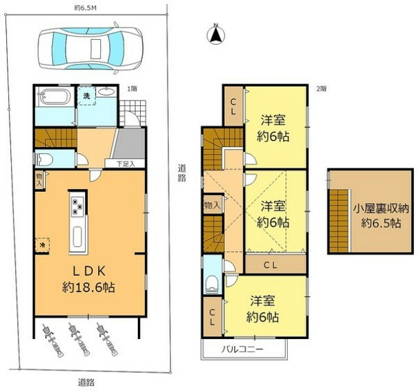 間取り図 開放感あるキッチンがポイントの南面LDK 水回りは北側に配置 2階居室3室は東側開口 南向バルコニー 角地で風の通り良好です