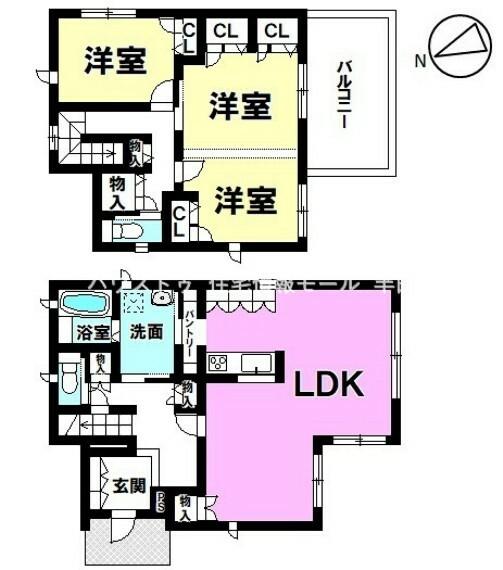 間取り図 2階の洋室は生活に合わせて間仕切り出来るタイプ