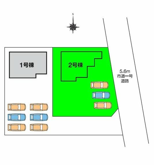 区画図 土地面積は75坪超!車は3台並列駐車可能です