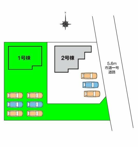 区画図 箕郷第一保育園、箕輪小学校まで徒歩5分圏内とお子様の通園・通学も安心  土地面積は100坪超!奥まった敷地に建つ南庭広がる1棟です