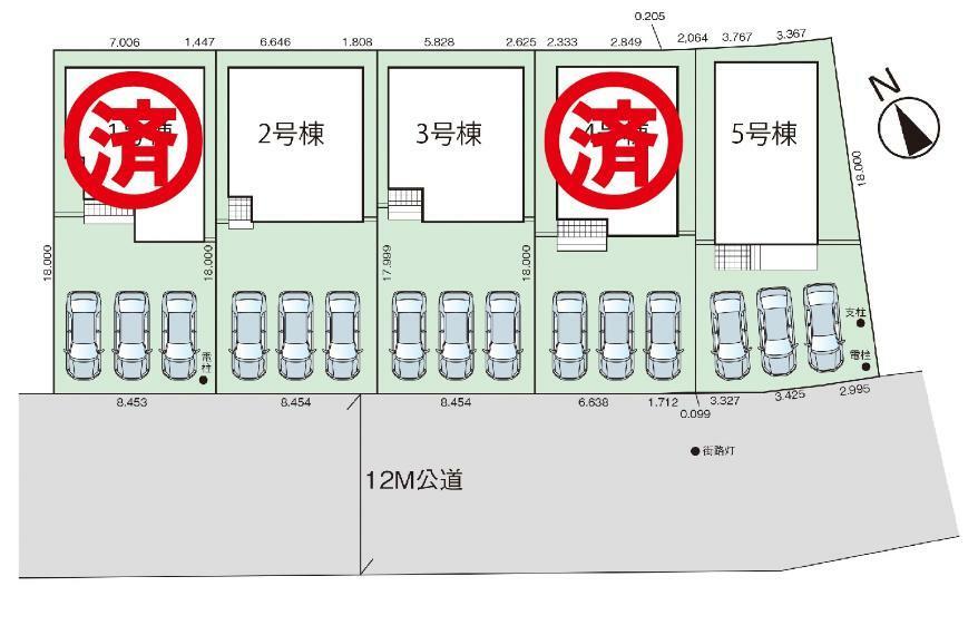 区画図 新築分譲住宅全5棟!全棟駐車スペース3台分!!