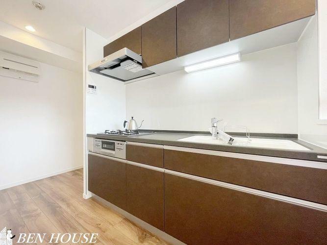キッチン キッチン・キッチンは浄水器一体型水栓のシステムキッチンに新規交換。使い勝手の良いカウンター付きです。