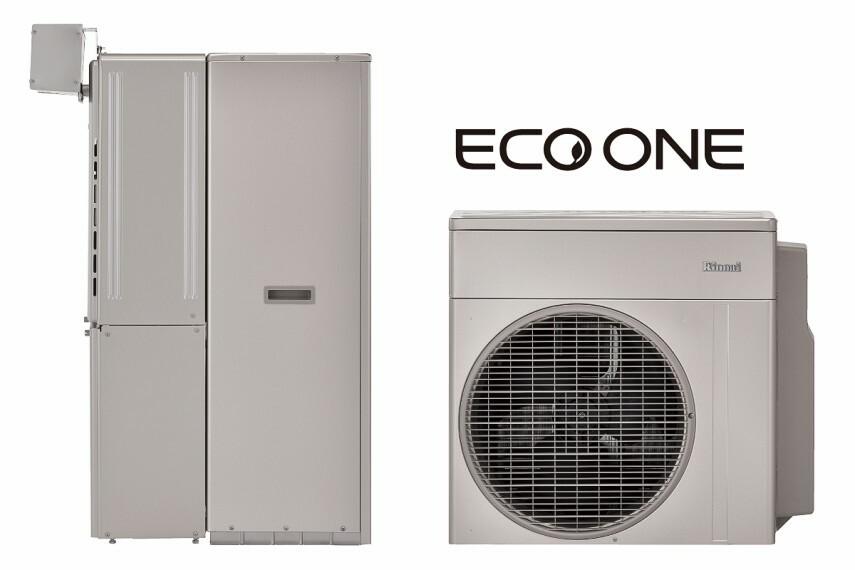 発電・温水設備 【高い省エネ効果のハイブリット給湯器「エコワン」】  エコワンは、電気とガスを併用したハイブリット給湯・暖房システム。ハイブリットなので災害時にも心強い仕様です。ヒートポンプが少ない電気で効率良くお湯を沸かし、ガスのエコジョーズでいつでも充分な給湯を実現。2つの相乗効果で快適な暮らしと省エネに貢献します。