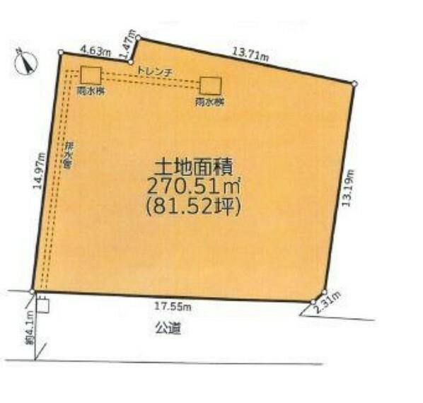 区画図 敷地面積ゆとりの約81坪、平屋もご検討いただけます。