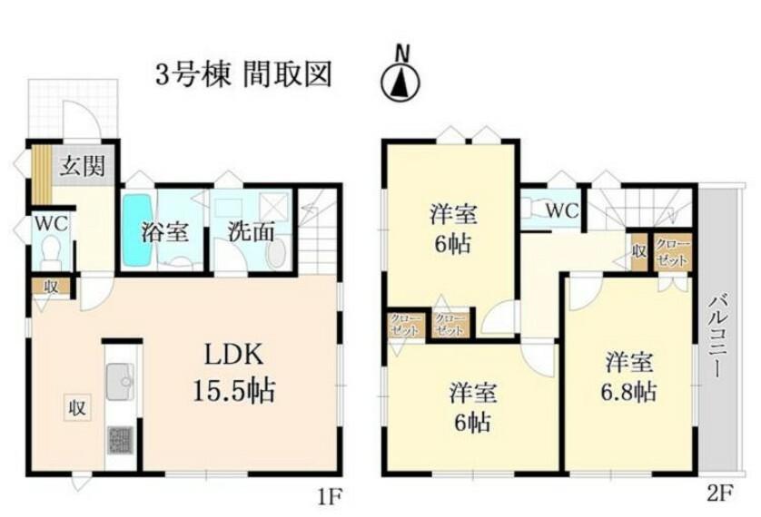 間取り図 2階全居室6帖以上!