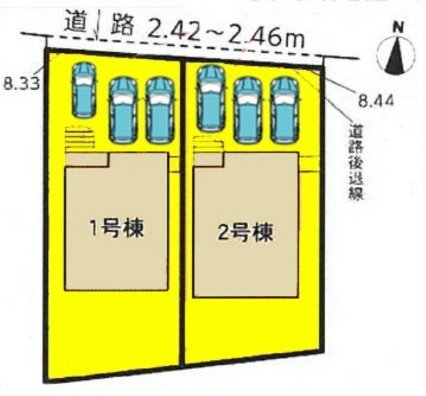 区画図 本物件は2号棟です。 並列駐車3台可能! ※車種によります