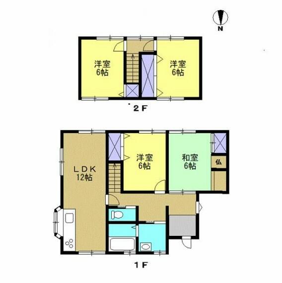 間取り図 【リフォーム中】 間取りは4LDKの二階建てです。 水廻りも全て新品交換しますので気持ちよく生活していただけます。 各部屋が独立しているので、お子様の勉強部屋としてもお使いいただけます。