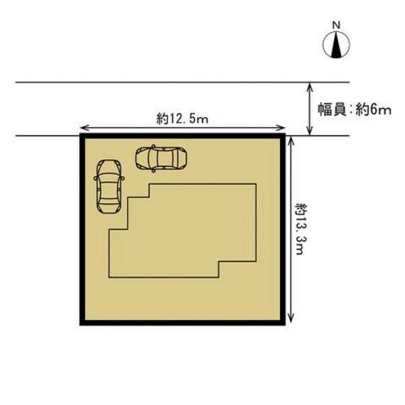 区画図 【リフォーム中】 敷地図です。 お車はこのように並列と横付けで計2台駐車可能に拡張します。もともとあった塀を一部撤去し、間口を広げて駐車しやすくなるよう仕上げます。 前面道路が6mありますので運転が苦手な方も駐車の際はゆっくりと落ち着いて停めることができます。