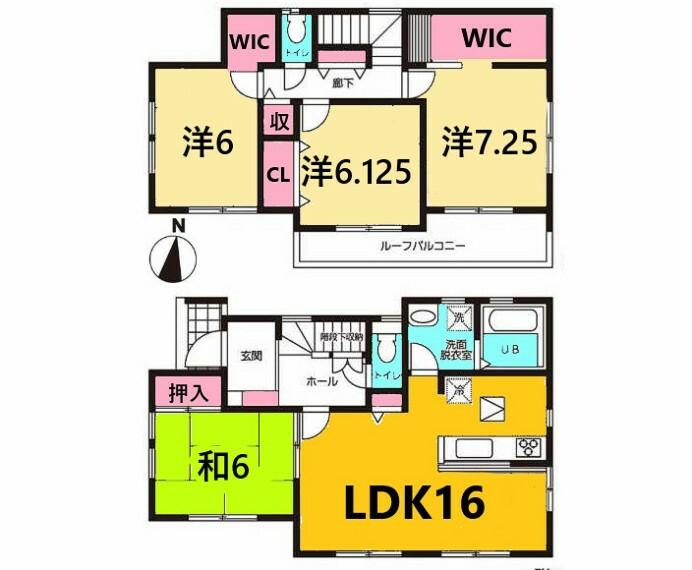 間取り図 土地面積:126.38平米、建物面積:105.59平米、4LDK