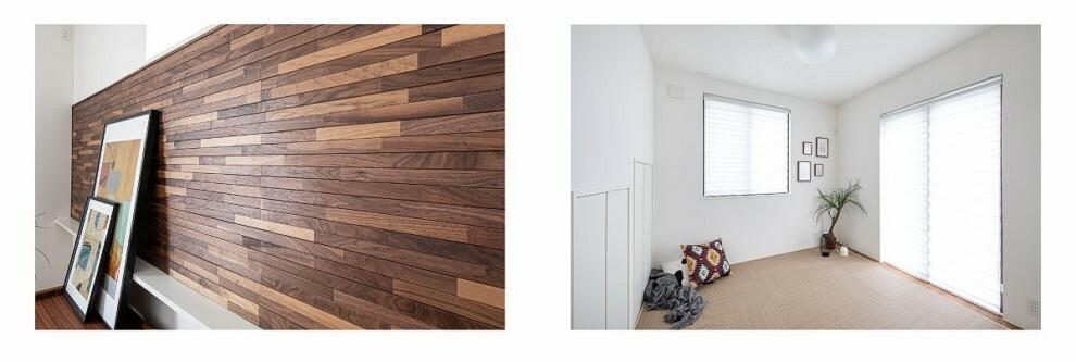 居間・リビング 【レリーフ壁とフレックスルーム】  銘木の風合いをそのままに、細やかなボーダー加工を立体的に施して、上質感あふれる壁材「レリーフ壁」と、ライフスタイルに合わせて対応できるフレックスルームのある家。(当社施工例/1、3号棟と同仕様)