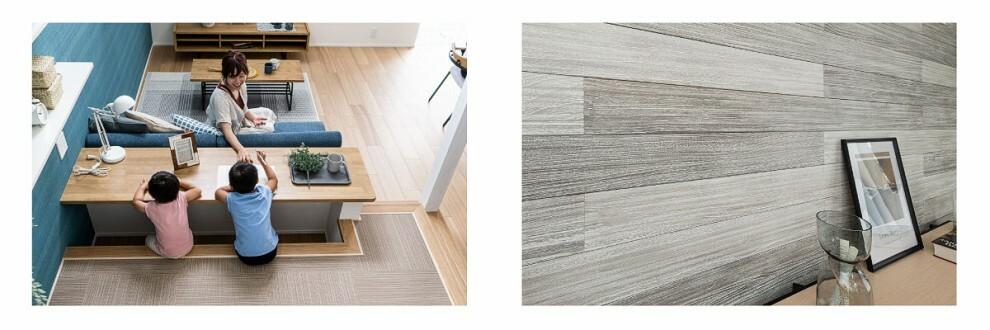 居間・リビング 【ステージリビングとシャイニーウッド】  程よい距離感で家族とつながるステージリビング。木枠コンクリートのような無骨さと同時に、白く輝くような洗練された美しさを感じさせるオリジナルの桐の壁材「シャイニーウッド」。(当社施工例/2、4号棟と同仕様)