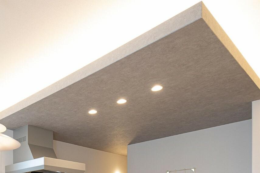 居間・リビング 【間接照明】  開放的なオープンキッチンに天井のアクセントクロス、高級感のある間接照明でおしゃれな空間を演出します。(当社施工例)