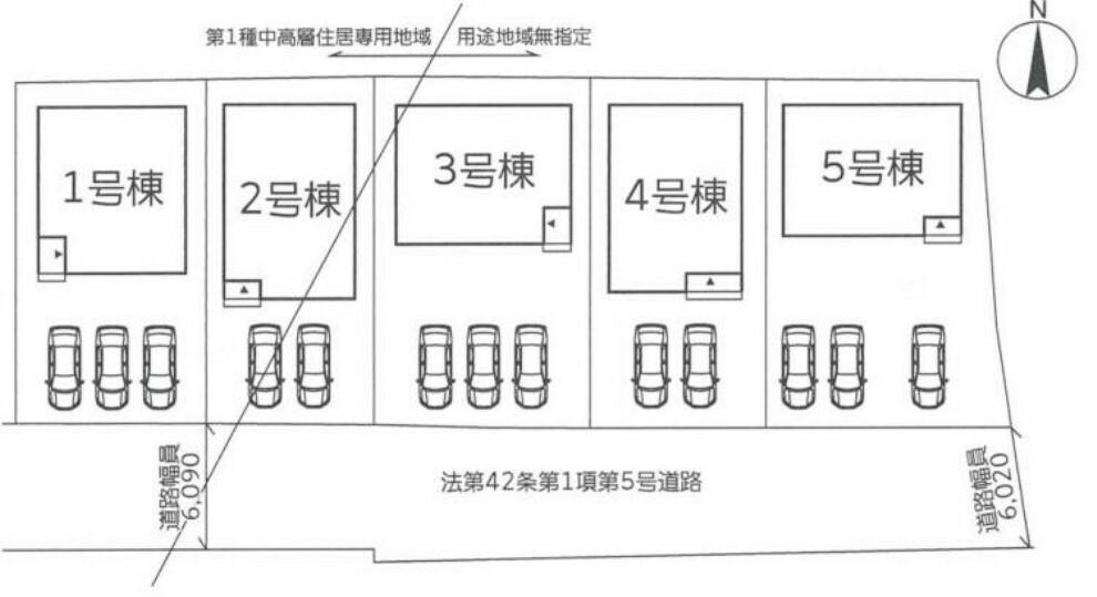 区画図 3台駐車可