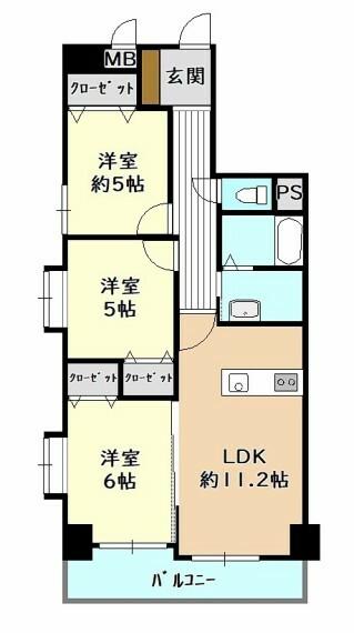 間取り図 2階部分 全居室に収納がある3LDK 南西角部屋の為、陽当り良好 全居室に窓があります 2021年8月リフォーム済み