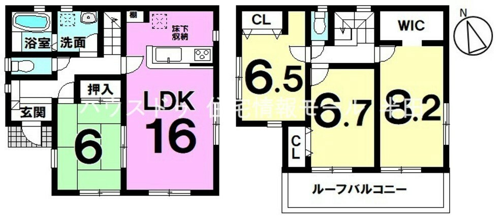 間取り図 全居室南向き  全居室6帖以上  ゆとりの4LDK