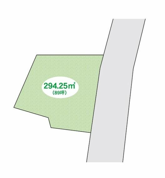 区画図 土地約89坪。建築条件なし。ゆったりとした敷地ですので住宅用地・駐車場用地等多用途でお考えできます。