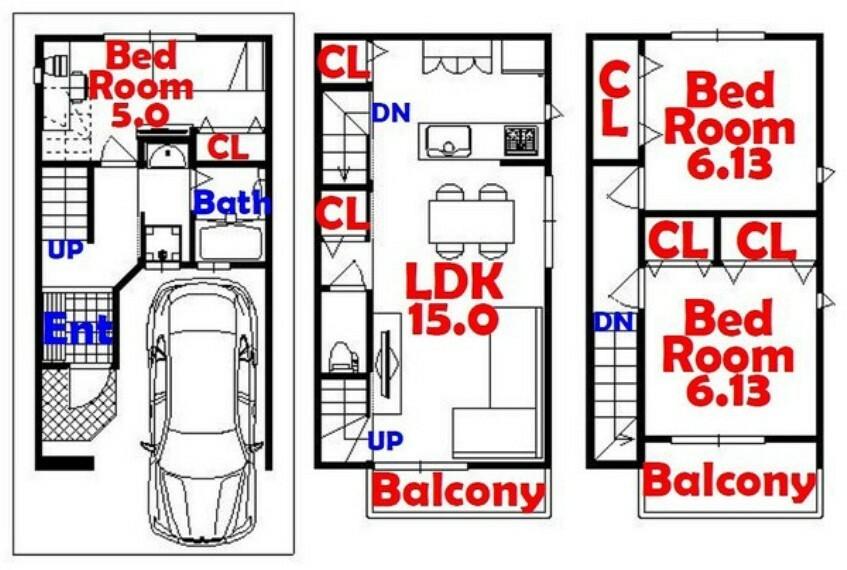 間取り図 3LDK/ガレージ/人気のカウンターキッチン/全居室収納/リビング収納
