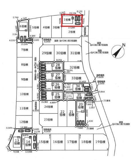 区画図 【1号棟区画図】土地面積165.02平米(49.91坪)