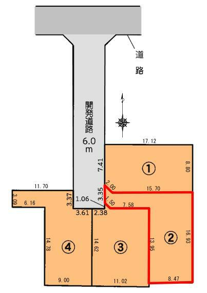 区画図 区割図 開発道路6m・駐車スペース2台可能