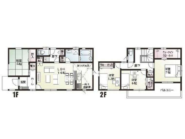 間取り図 B号棟 間取図・・・リビング・主寝室・洋室は、南向きの明るい間取となっております。