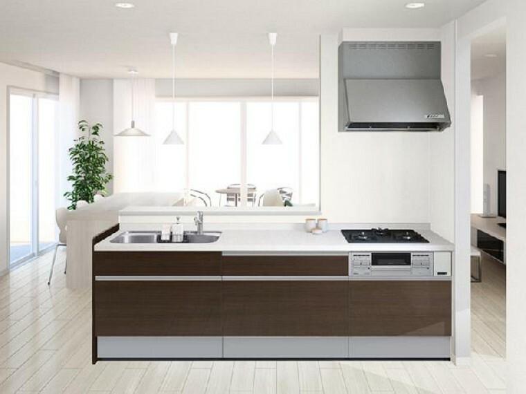 B号棟:キッチン(同仕様)・・・キッチンは3口コンロで食洗機付きのシステムキッチン。対面式になっているのでご家族との会話を楽しみながら料理を作ることができます。