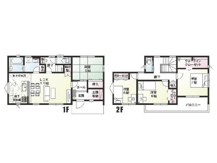 間取り図 A号棟:間取図・・・2階へ上がる際、必ずリビングを通る間取で家族とのコミュニケーションが取れます。