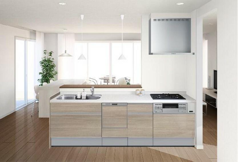 A号棟:キッチン(設備)・・・キッチンは3口コンロで食洗機付きのシステムキッチン。対面式になっているのでご家族との会話を楽しみながら料理を作ることができます。