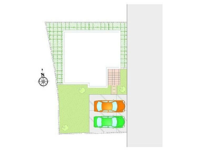 区画図 配置図・・・車2台駐車可能!お庭もある配置となっております!