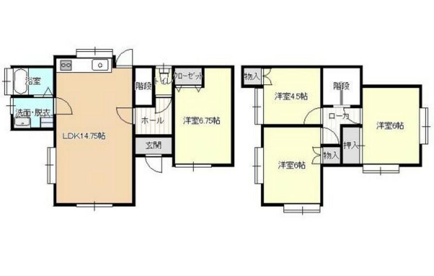 間取り図 【リフォーム済】約14.75帖のLDKは適度に広くお使い易いと思います、2階は洋室が3部屋あり各部屋に収納も付いていて便利です。