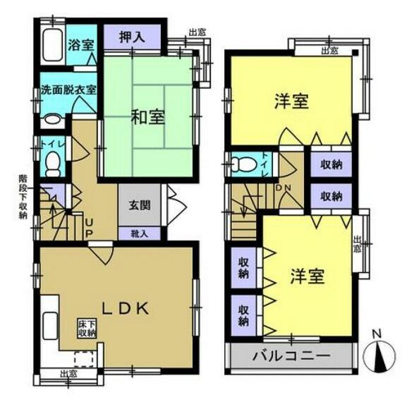 間取り図 【リフォーム前間取図】約10帖LDK含む3LDKのお家です。水回り一式交換予定です。