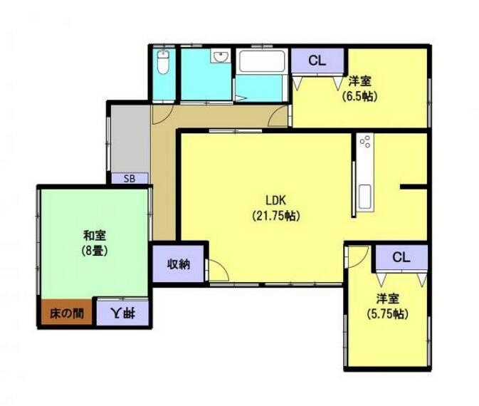 間取り図 各部屋クローゼット付き3SLDKの平家住宅です。キッチンを移設し対面式キッチンのLDKに間取り変更を行います。