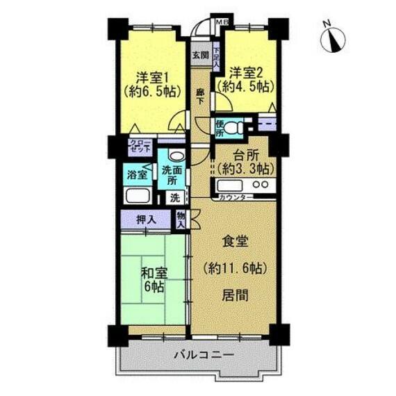 間取り図 【工事予定間取図】カウンターキッチンのあるリビングと3部屋確保された3LDK間取り。南西向きベランダ、6階のお部屋なので日当たり良好な、気持ちの良いお部屋です。
