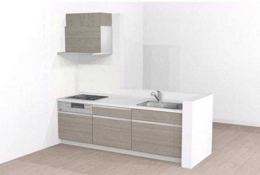 キッチン 【同仕様写真】キッチンはハウステック製の新品に交換します。引出には一升瓶や胴鍋のような背の高いものも収納できます。天板は熱や傷にも強い人工大理石仕様なので、毎日のお手入れが簡単です。