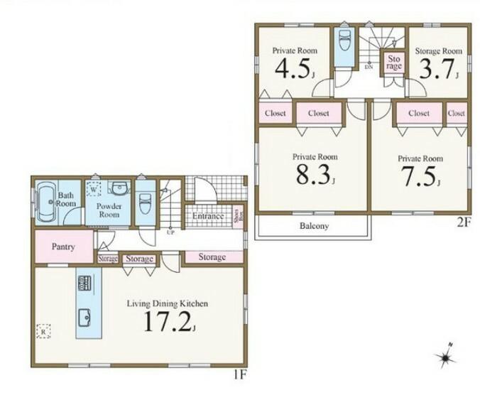 間取り図 2か所からアクセス可能なパントリーが魅力的。 廊下やリビングにも収納スペースを設けすっきり快適な暮らし。3.7帖のストレージルーム、テレワークスペースにも活躍。17.2帖の広々リビングでご家族団らん