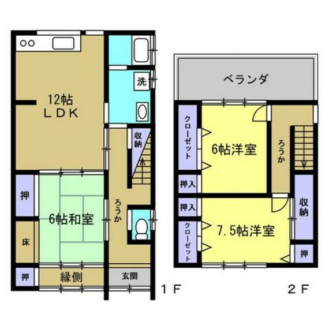 間取り図 リフォーム後の間取りです。全室クロス張替え、各居室、キッチン、階段天井に火災警報器を設置。