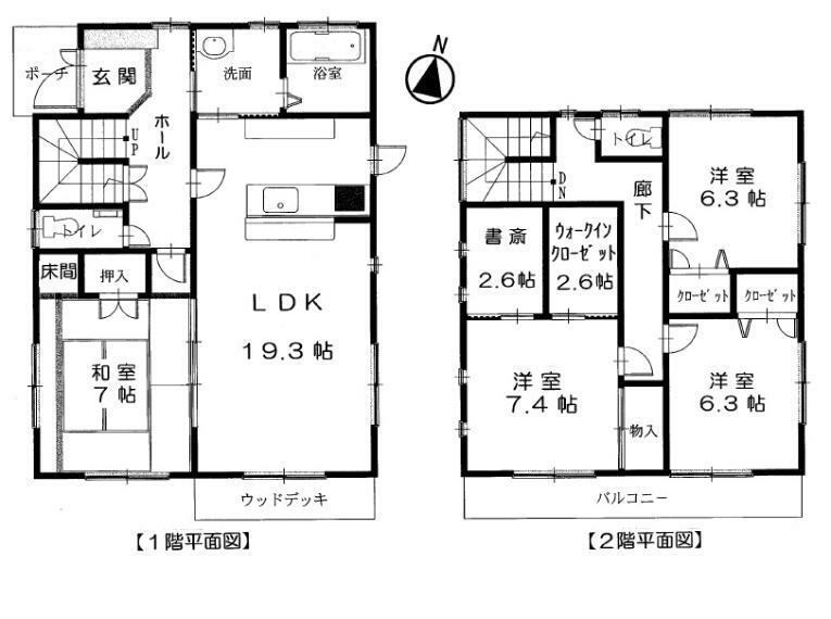 間取り図 建物面積は40坪。4LDK+書斎+ウォークインC。