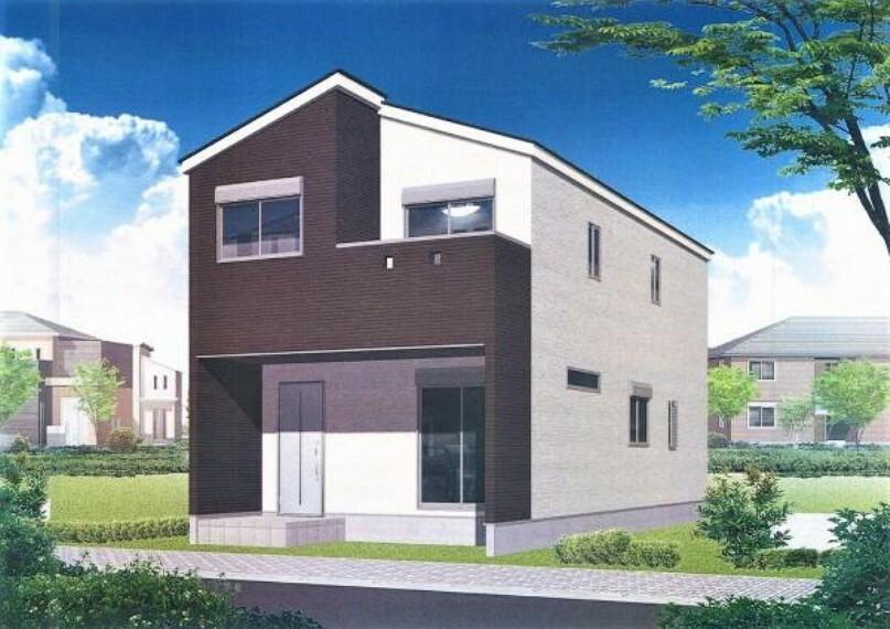 完成予想図(外観) スタイリッシュなデザインの2階建て新築です。