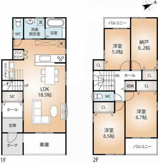 間取り図 全居室に収納が充実した2階建てです。