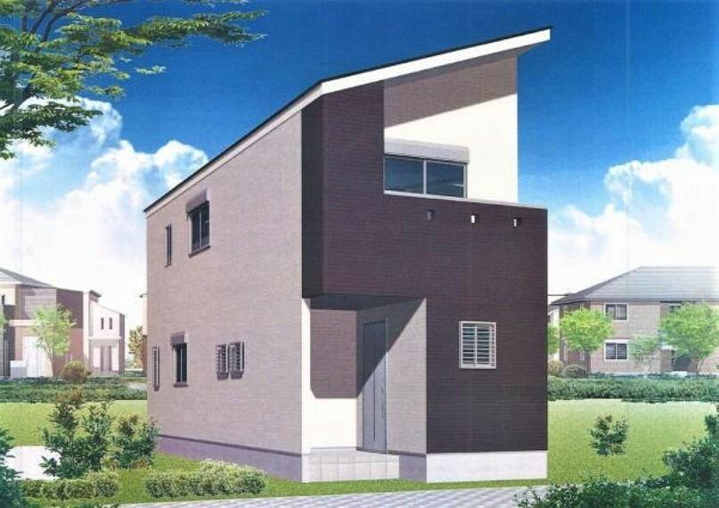 完成予想図(外観) スタイリッシュな外観デザインの2階建て新築です。